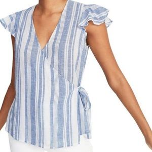 Old Navy White and Blue Linen Wrap Blouse